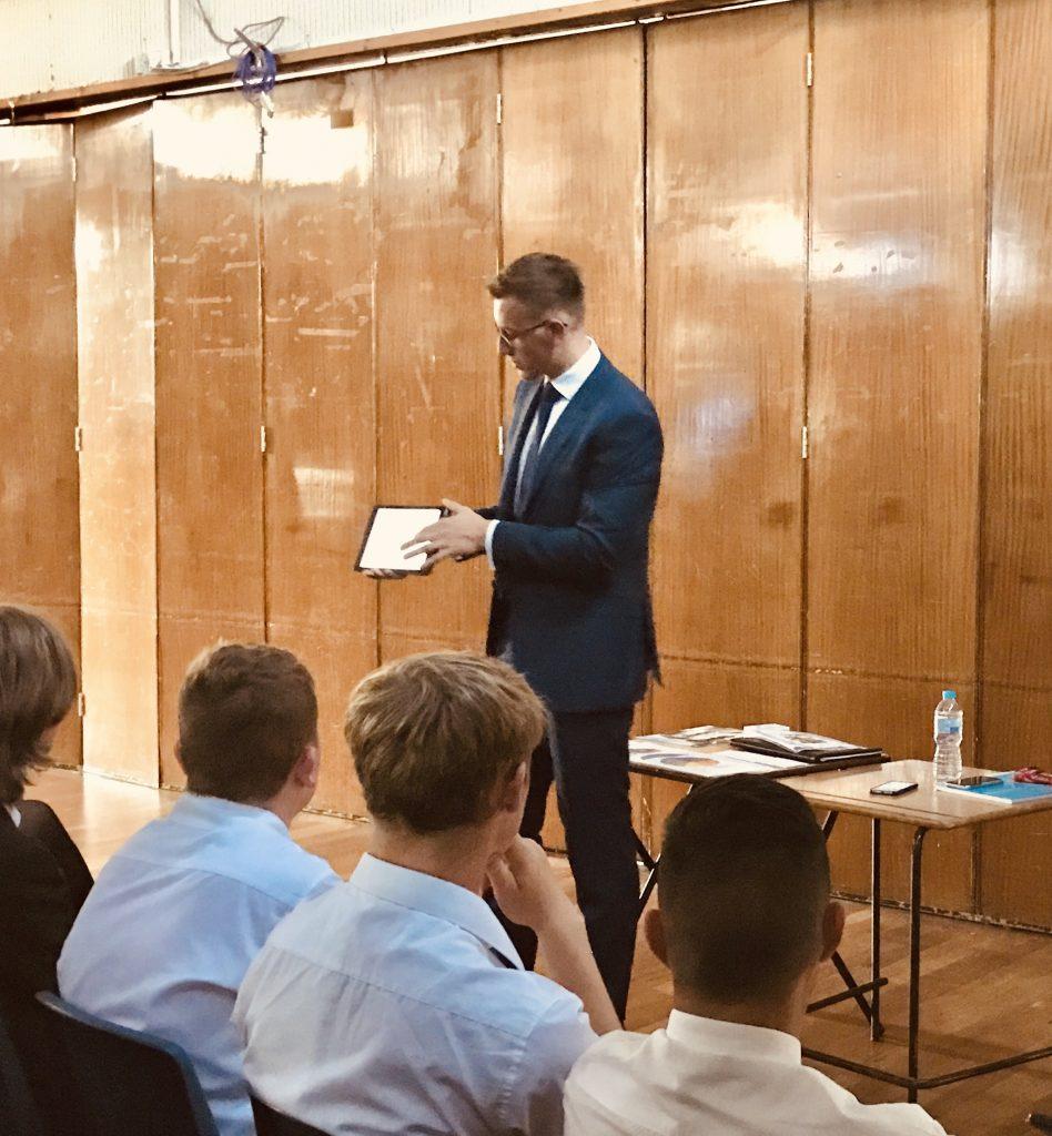 Ryan Venner shows students the Premier Jobs UK app